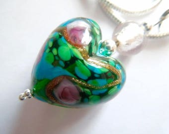 Pink and green Murano glass heart pendant with sterling silver.