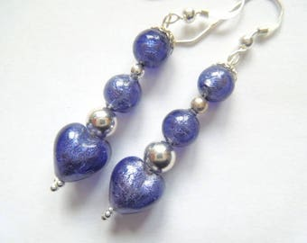 Purple and sterling silver Murano glass earrings.