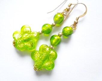 Green flower Murano glass earrings.