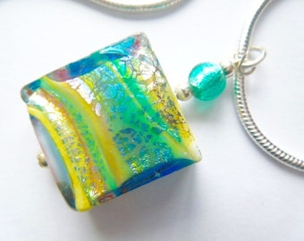 Green,gold and white Murano glass spangle pendant with sterling silver.