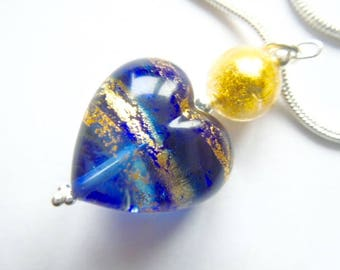 Blue and gold Murano glass heart pendant with sterling silver.