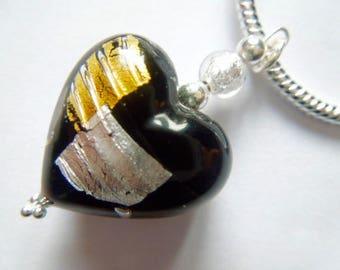 Black, silver and gold Murano glass heart pendant.