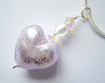 Silver Murano glass heart pendant with sterling silver snake chain.