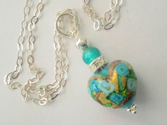 Beautiful Blue Hand Made Murano Glass Necklace With Sterling Chain /& Earrings