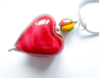 Red Murano glass heart pendant with sterling silver.