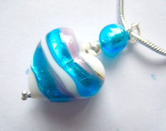 Blue and white Murano glass heart pendant with sterling silver.