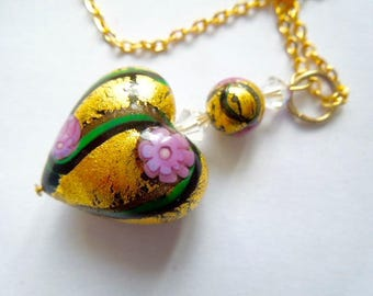 Gold and pink Murano glass heart pendant with Swarovski.