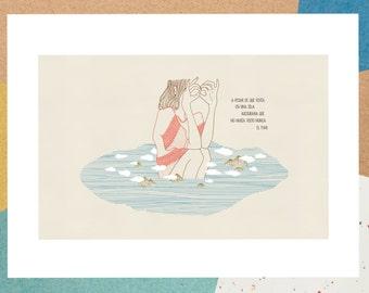 """naif """"naive"""" inspired illustration, limited edition print (island)"""
