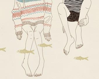 """naif """"naive"""" inspired illustration, limited edition print (fishes)"""