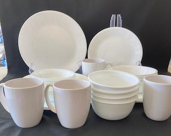 28 Piece Corelle Winter Frost White Dinnerware Set, Service For 4