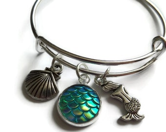 Mermaid bangle, mermaid bracelet, mermaid gift, mermaid party, mermaid favors, party bag favours, sea jewellery, sea gift, be a mermaid, Uk