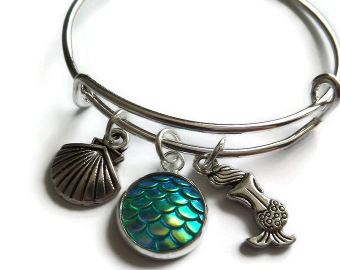 Featured listing image: Mermaid bangle, mermaid bracelet, mermaid gift, mermaid party, mermaid favors, party bag favours, sea jewellery, sea gift, be a mermaid, Uk