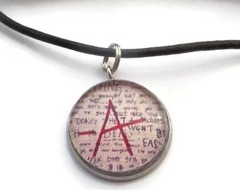 Liars necklace, liars fan gift, A necklace, got a secret, glass dome necklace, pretty little liars, novelty gift, tv fandom, sandykissesuk
