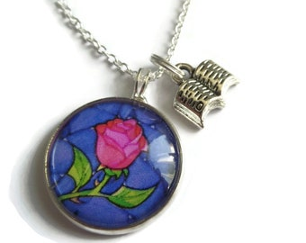 Beauty beast gift, belle necklace, rose necklace, princess necklace, princess gift, book necklace, princess party favors, sandykissesuk