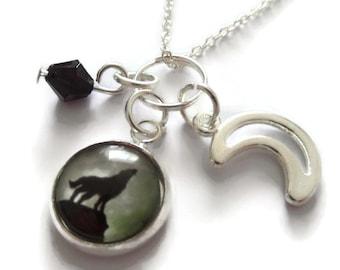 Wolf necklace, teenwolf gift, werewolf necklace, fandom gift, moon necklace, full moon gift, wolf jewellery, wolf favors, sandykissesuk