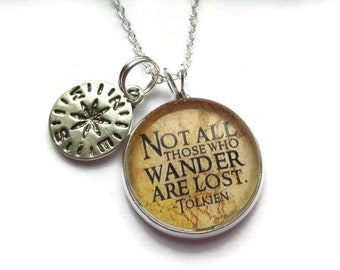 wander are lost, wander necklace, compass gift, compass necklace, wander lost gift, rings necklace, fandom gift, sandykissesuk