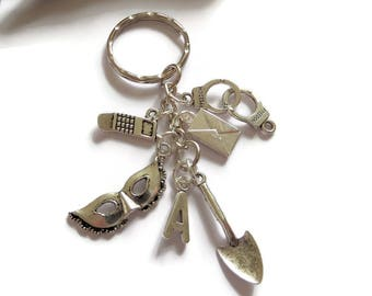 pretty little liars, liars keyring, liars jewellery, liars jewelery, liars fan gift, charm keyring,  spade keyring, murder keyring