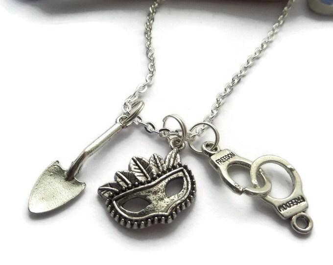 Liars necklace, liars fandom, liars jewellery, spade necklace, mask necklace, handcuffs necklace, got a secret, liars fan gift,sandykissesuk