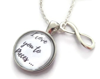 Love you necklace, puzzle necklace, love gift, autism necklace, love jewellery, infinity necklace, infinity gift, autism gift, sandykissesuk