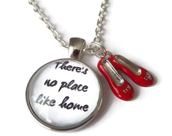 Home necklace, oz necklace, no place like home, wizard oz gift, dorothy necklace, glass dome necklace, red shoes necklace, sandykissesuk