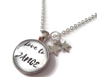 Dance necklace, dance jewellery, love to dance, dance gift, dancing jewelry, dancer necklace, sports gift, xmas stocking, sandykissesuk