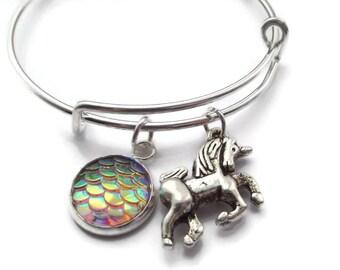 Unicorn bangle, unicorn bracelet, unicorn gift, fantasy gift, be a unicorn, mermaid scales, personalised gift, unicorn party, unicorn favors