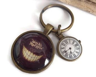 Cheshire Cat gift, cheshire cat keyring, Alice in Wonderland, Glass Dome gift, sandykissesuk, rabbit clock gift, all mad here, mad here gift