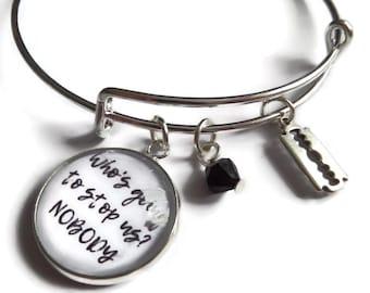 Peaky bracelet gift, who's gonna stop us, blinders jewellery, tv jewellery, quote jewellery, razor blade gift, glass cabochon, sandykissesuk