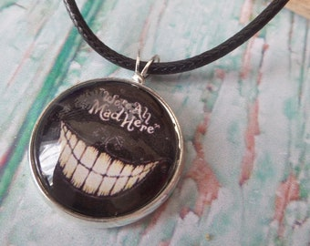 cheshire cat necklace, wonderland jewelery, alice jewellery, novelty jewelery, mad here gift, wonderland gift, cheshire grin, fandom gift