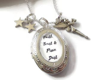 tinkerbell necklace, pan locket, tinkerbell necklace, fairy locket, faith trust, peter pan jewelery, peter pan gift, fairy necklace,