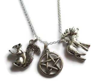 Supernatural necklace, moose necklace, squirrel necklace, supernatural fandom gift, winchester necklace, pentagram necklace, sandykissesuk