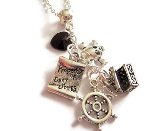 Pirates necklace, ship wheel necklace, treasure map gift, jack sparrow gift, skull necklace, pirate favors, treasure necklace, sandykissesuk