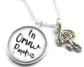 """Gilmore girls themed 20mm Glass Dome Necklace """" in omnia paratus"""", gilmore necklace, gilmore gift, umbrella necklace, you jump I jump gift,"""
