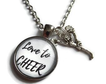 Cheerleader necklace, cheerleader gift, love cheer gift, cheerleader favors, all about cheer, sports necklace, cheer jewelry, sandykissesuk