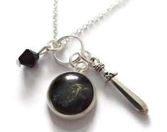 Direwolf necklace, wolf necklace, direwolf gift, winter necklace, thrones necklace, fandom necklace, tv fan gift, sandykissesuk