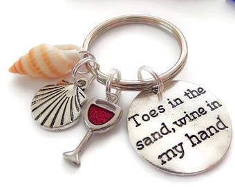 Toes in the sand, wine in the hand, beach gift, wine gift, beach keyring, wine keyring, wine favors, beach favours, seashell gift, bag charm