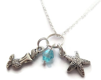 Mermaid necklace, mermaid jewellery, sea jewellery gift, starfish necklace, ocean jewellery, sea necklace, beach sea gift, sandykissesuk