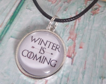 Winter necklace, thrones necklace, winter is coming, tv fandom gift, thrones gift, cabochon necklace, novelty necklace, sandykissesuk