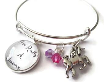 I'm really a unicorn 65mm expandable silver bangle fan gift jewellery UK