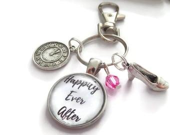 Happily ever after gift, cinderella keyring, princess bag clip, wedding favors, princess gift, princess party, wedding keyring,sandykissesuk