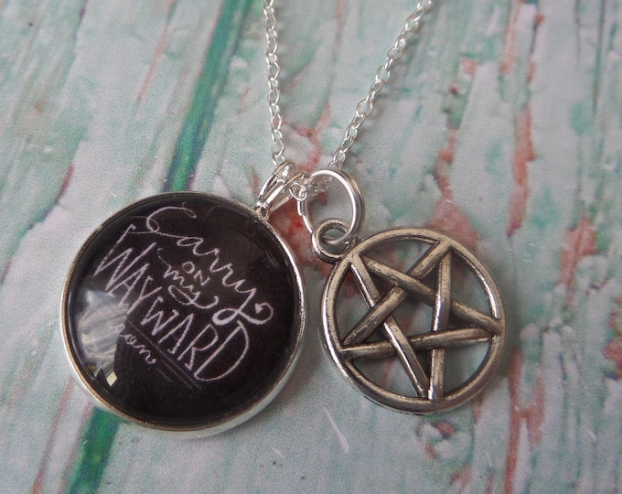 supernatural necklace, supernatural, winchester brothers gift, wayward son gift, castiel, pentagram necklace, supernatural gift, fandom gift