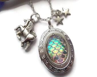Unicorn necklace, unicorn locket, unicorn gift, unicorn jewellery, unicorn jewellery, fairy jewellery, rainbow necklace, rainbow gift,