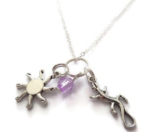 Tangled necklace, rapunzel necklace, princess necklace, princess jewellery, party bag favors, lizard necklace, sun necklace, sandykissesuk