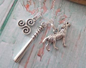 Teen wolf necklace, teen wolf jewellery, wolf jewelry, mccall styles gift, fandom gift, baseball bat gift, triskelion gift, sandykissesuk