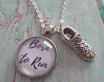 Born to run necklace, runner necklace, jogger necklace, love to run gift, novelty necklace, novelty gift, trainer necklace, sandykissesuk