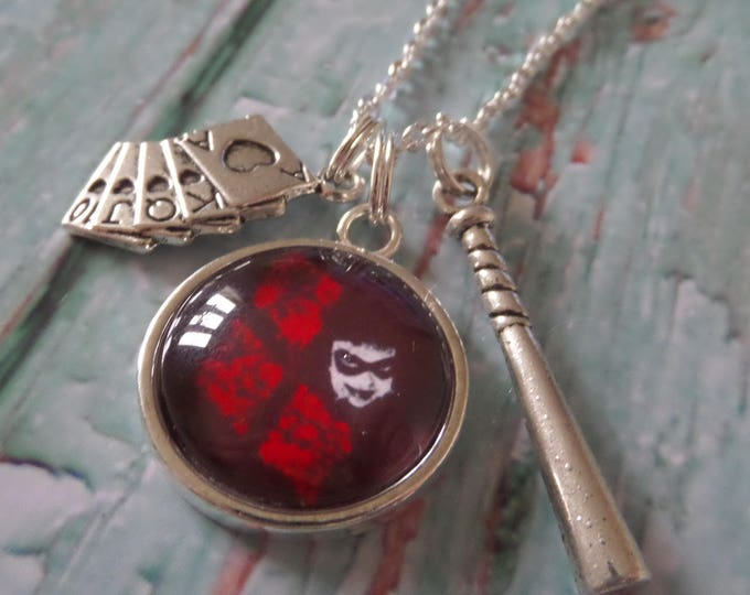 Harley Quinn themed 20mm glass dome necklace, villain gift, super hero necklace, fandom gift, bat necklace, squad necklace, sandykissesuk