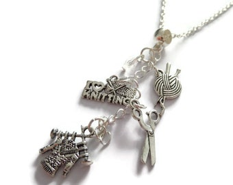 Knitting necklace, love to knit gift, knitting jewellery, knitter crafts gift, knitting favors, xmas stocking gift, sandykissesuk