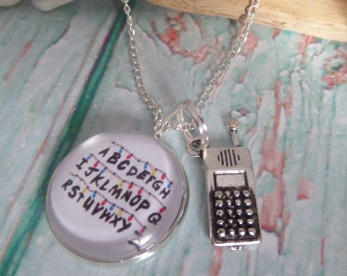 RUN necklace, xmas lights gift, tv fandom gift, walkie talkie, xmas stocking, fan necklace, xmas gift, walkie talkie necklace, sandykissesuk