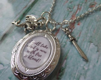 """GAME of THRONES inspired oval glass dome """" I will take what is mine with fire & blood """" silver locket necklace"""