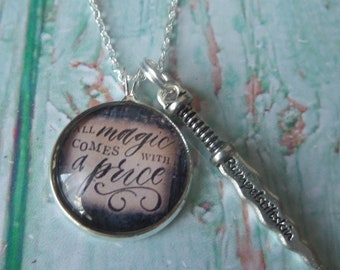 Once time necklace, rumple necklace, once time gift, ouat jewellery, magic comes price, magic dearie gift, dagger necklace, sandykissesuk